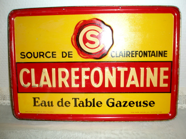 Clairefontaine Blechschild Eau de Table Gazeuse Luxembourg 1948