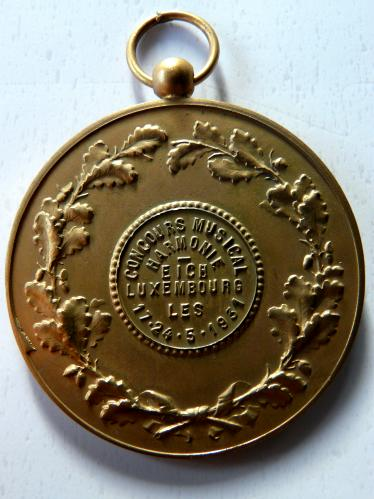 Eich Luxembourg 1931 Concours Musical Harmonie Medal Luxemburg