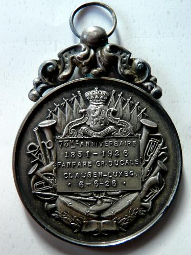 Clausen Luxemburg 1926 Fanfare Grand Ducale Medaille Medal 1851