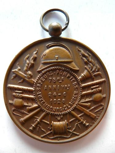 Clausen Luxembourg 1928 Sapeurs Pompiers Medaille Feuerwehr Fire