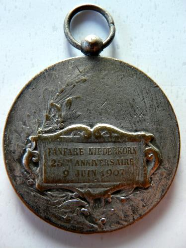 Niedercorn Luxemburg 1907 Fanfare Medaille Medal Luxembourg