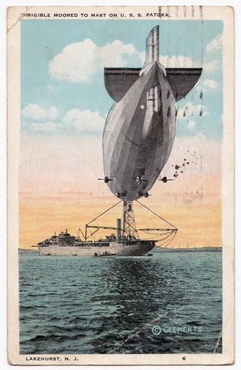 Dirigible Moored to Mast U.S.S. Patoka Lakehurst Clements 1925 P