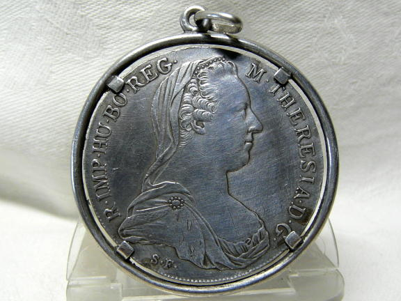 Maria Theresa Thaler silver jewelry in 1780 Austrian Habsburg mo