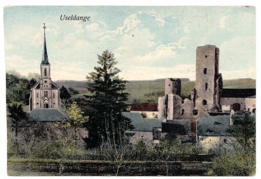 Useldange Luxembourg Panorama 1916 Eglise ruines château P. Pate