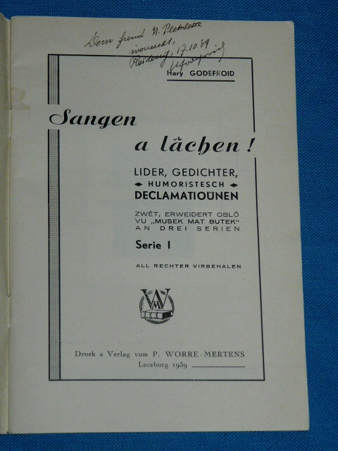 Sangen a lâchen Hary Godefroid Serie 1 Luxembourg 1939 humoriste