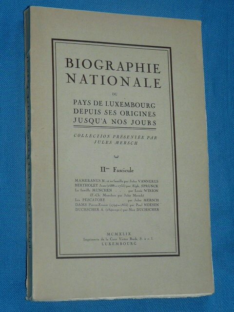 Biographie Nationale Luxembourg J. Mersch 1949 2 Fascicule Vanne