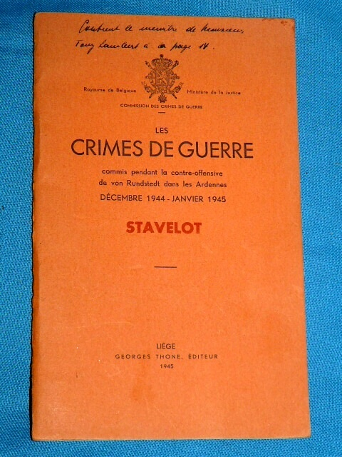 Les Crimes Guerre commis pendant offensive Rundstedt Stavelot 19