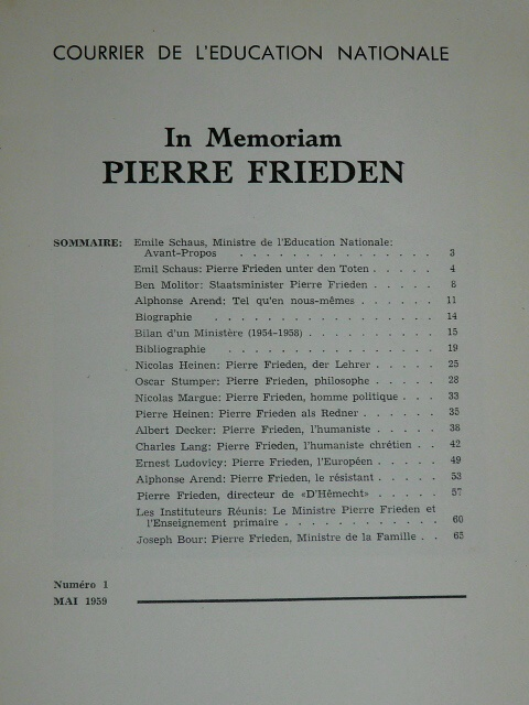 In Memoriam Pierre Frieden Luxembourg 1959 Grand duché Luxemburg