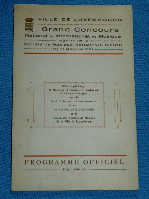 Grands Concours National International Musique 1931 Eich Luxembo
